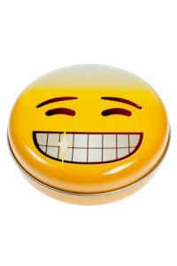 Metalldose 'Grinse-Emoji' rund 12 cm