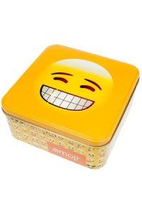 Metalldose Grinse-Emoji quadratisch 15,5 cm