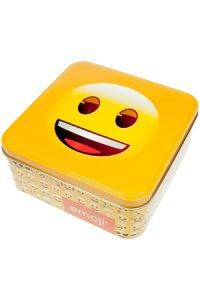 Metalldose Lächel-Emoji quadratisch 15,5 cm