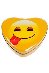Metalldose Lecker-Emoji herzförmig 17 x 15,5 cm