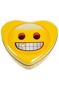 Metalldose Grinse-Emoji herzförmig 17 x 15,5 cm