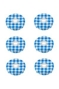 TO 43 Trinkhalmdeckel blau kariert, 6 Stück