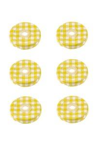TO 43 Trinkhalmdeckel gelb kariert, 6 Stück