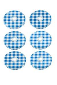 TO 53 Trinkhalmdeckel blau kariert, 6 Stück