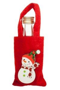 Mini-Geschenktasche Schneemann aus Filz rot