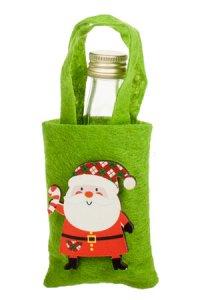 Mini-Geschenktasche Weihnachtsmann aus Filz grün