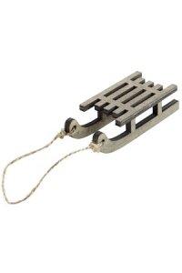 Deko-Schlitten aus Holz, 9 cm, taupe