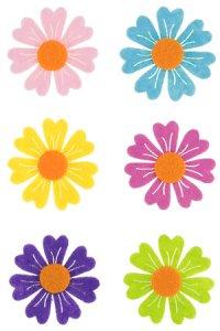 Filzaufkleber Bunte Blumen, 6er Set