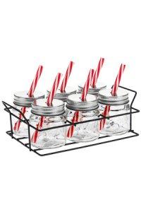 Trinkhalmglas 70 ml, 6er Set im Drahtgestell