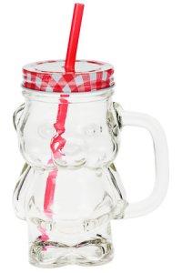 Trinkhalmglas Bär 400 ml