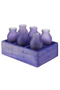 Dekoflasche lila 120 ml, 6 Stück in Holzkiste