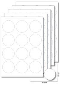 Etiketten rund 60 mm weiß -  5 Blatt A4