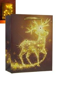 Geschenktasche Rentier mit 10 LEDs, 18 x 8 x 23 cm
