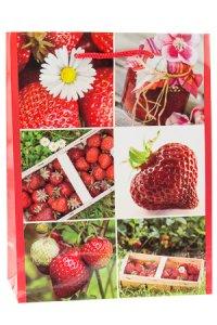 Geschenktasche Erdbeere, 25 x 8,5 x 34,5 cm