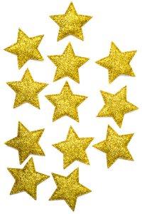 Glimmersterne gelbgold - 12er Pack