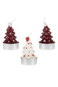Kerzen Tannenbaum rot-weiß, 3er Set