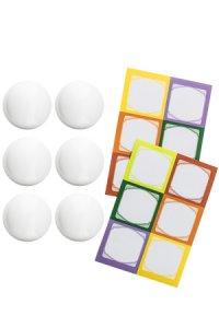 Cubi Kappe 6er plus 12 Etiketten, weiß