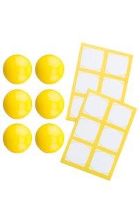 Cubi Kappe 6er plus 12 Etiketten, gelb