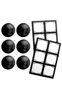 Cubi Streuerkappe 6er plus 12 Etiketten, schwarz