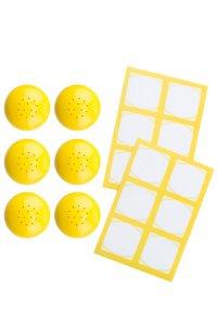 Cubi Streuerkappe 6er plus 12 Etiketten, gelb