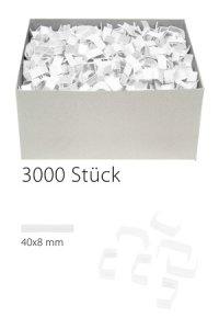 U-Clips 40 x 8 mm weiß, 3000 Stück