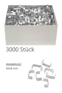 U-Clips 40 x 8 mm silber, 3000 Stück