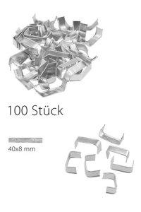 U-Clips 40 x 8 mm silber, 100 Stück
