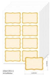 Etiketten 65 x 45 mm orange gestreift, 64 Stück, A5