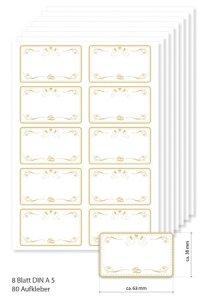 Etiketten 63 x 38 mm Hochzeitstauben gold, 80 Stück, A5