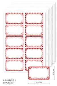 Etiketten 63 x 38 mm Rot mit Rüschen, 80 Stück, A5