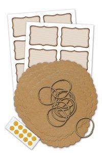 Deckchen-Set 46-teilig, 135 mm, Streifen natur