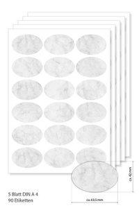 Etiketten oval 63,5 x 42,3 mm grau marmoriert -  5 Blatt A4