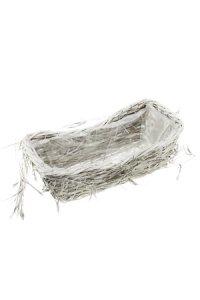 Holzkorb mit Zottelgras weiß rechteckig 38 x 18 cm