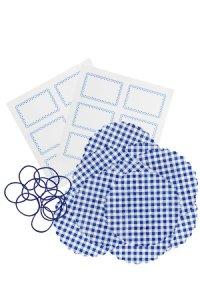 Deckchen-Set 32-teilig, 105 mm blau kariert