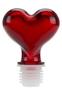 Glasstopfen 19,5 mm Herz rot