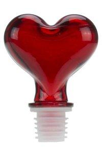 Glasstopfen 16 mm Herz rot