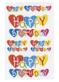Schmucketiketten Happy Birthday mit Herzen