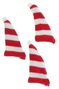 Zipfelmütze rot/weiß gestreift, 3er Pack