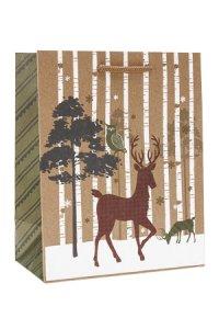 Geschenktasche Baum mit Eule und Hirsch, 18 x 10 x 23 cm