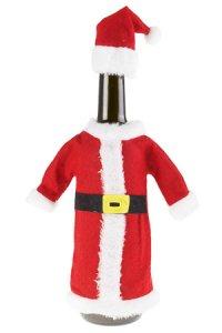 Flaschenverkleidung Nikolausmantel mit Mütze