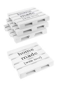 Deko-Holzpalette Homemade 10 x 10 cm, weiß, 4 Stück