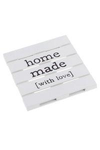 Deko-Holzpalette Homemade 18 x 18 cm, weiß