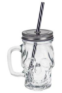 Trinkhalmglas Totenkopf 370 ml