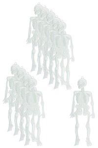 Halloween-Skelettanhänger, selbstleuchtend, 10 Stück