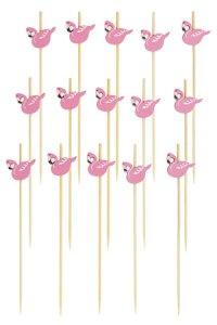 Bambusstäbchen Flamingo, 12 cm, 15er Pack