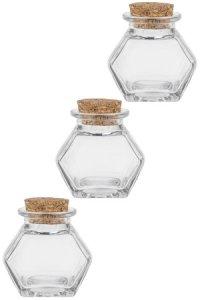Korkenglas Sechseckglas 45 ml, 3er Pack