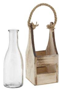 Deko-Flasche 290 ml im Holzträger
