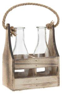 Deko-Flaschen 290 ml im 2er Holzträger