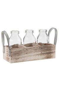 Deko-Flaschen 115 ml im 3er Holzkorb mit Griffen