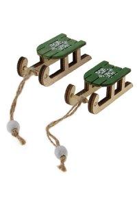 Anhänger Schlitten aus Holz 6 cm, 2er Pack grün